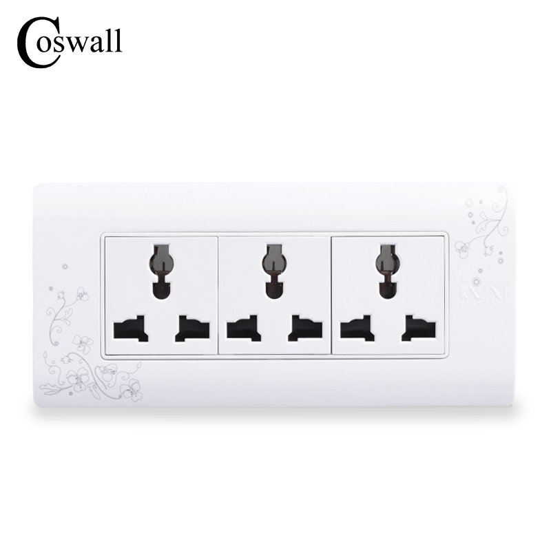 COSWALL Universal Plug Simple Style Wall Electrical Socket Multi-function 9 Hole Power Outlet With Child Protective Door