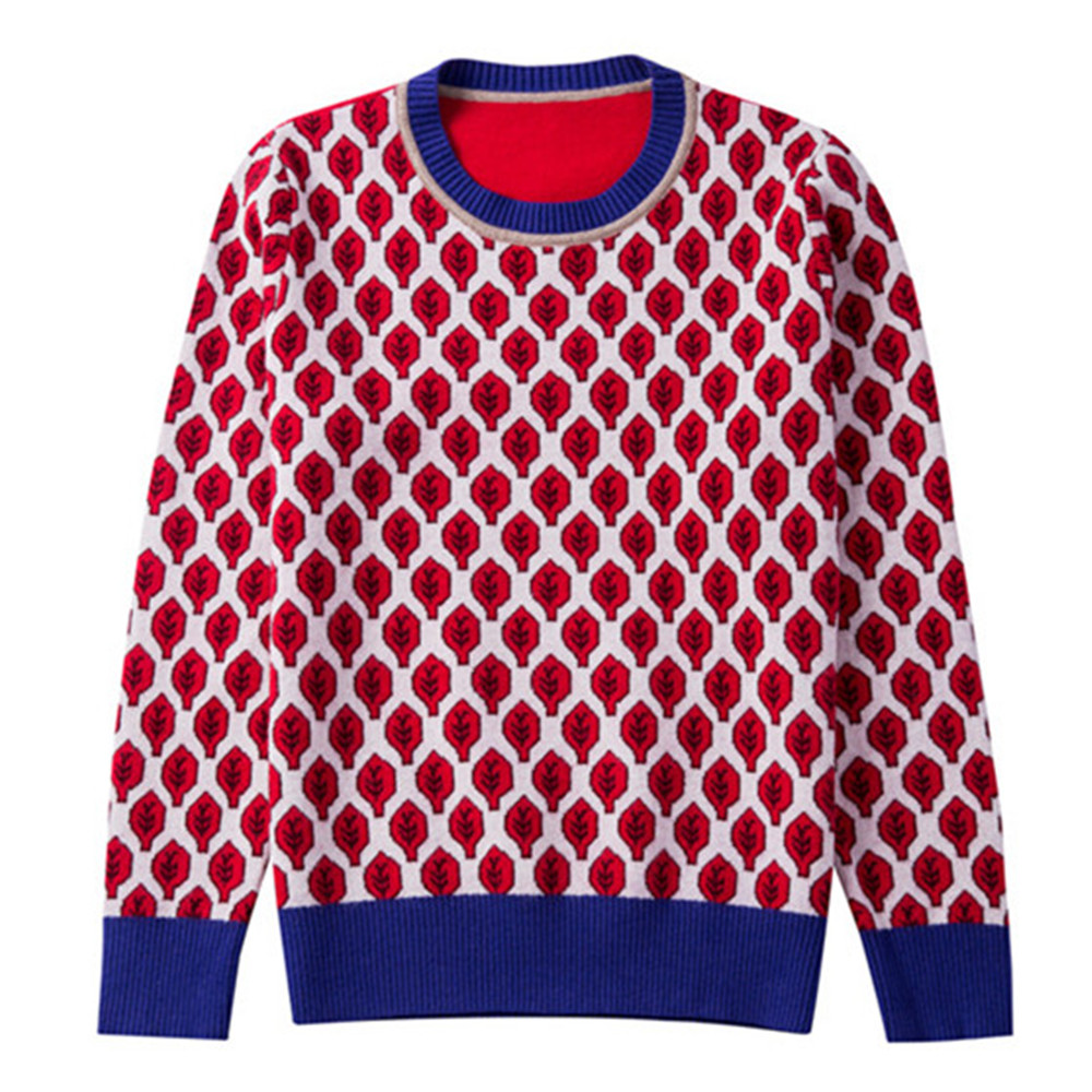 Runway Design Sweater Women Jumper Winter 2018 New Autumn Red Leaf Jacquard Pullovers Long Sleeve Jersey Knit Retro Tops Vintage