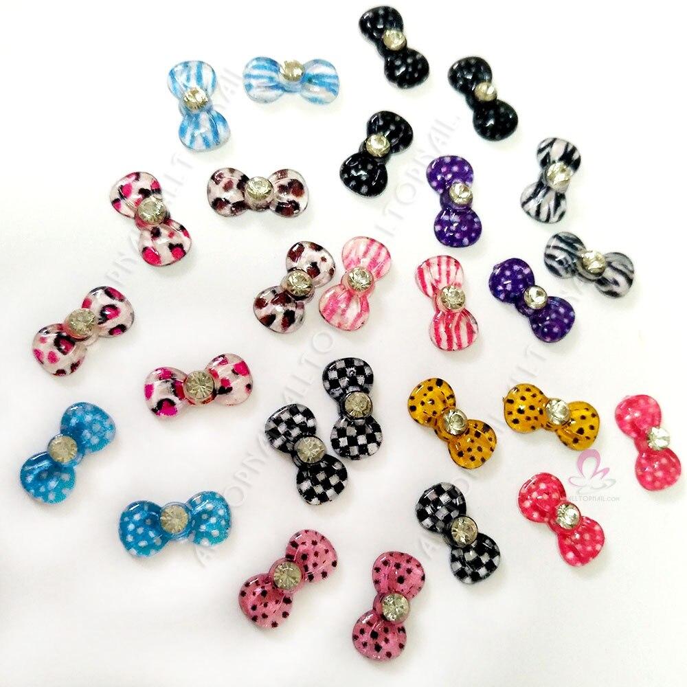 100pcs Mix 3d Glitters Bow Tie Nail Bowtie Flower Design Acrylic