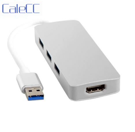 HDMI HDTV 1080p to USB 3.0 USB 2.0 External Graphics Card & USB 3 Ports Hub 4 in 1 Multiplicate Converter Adapter Cable image