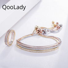 QooLady 2019 New Arrival Adjustable Cubic Zirconia Bangles Bracelets Rings Sets for Fashion Women Party Jewelry Accessories Z001