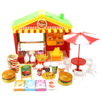 Children Pretend Play Toy Dining Table Fast Food Restaurant Play Set For Kids Burger Shop
