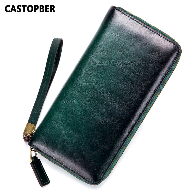 2018 New Designer Vintage Wallet Women Cowhide Genuine Leather Oil Wax Men Clutch Wallet Ladies Zipper Long Purse High Quality dollar price new european and american ultra thin leather purse large zip clutch oil wax leather wallet portefeuille femme cuir