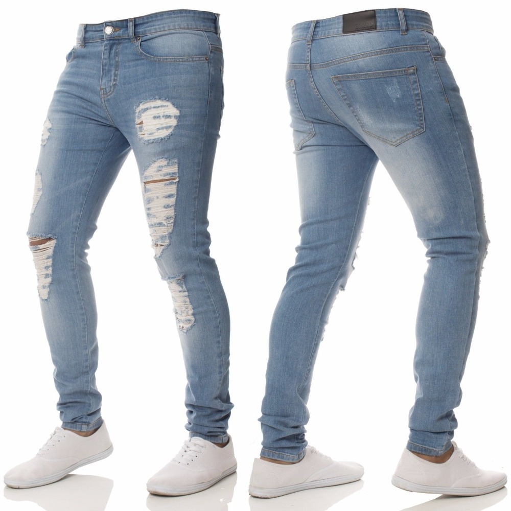Fashion Men High Street Slim Hole Zipper Denim Dark Blue Jeans 2018 New Summer Skinny Frayed Pants Distressed Rip Troursers