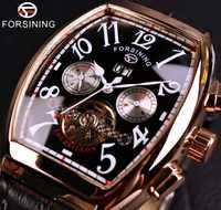 Forsining Date mois affichage Rose boîtier en or hommes montres haut de gamme Montre automatique de luxe Montre Homme horloge Montre décontractée pour Homme