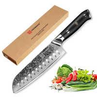 """KEEMAKE 7 """"pulgadas Santoku cuchillos de cocina herramientas de corte japonés Damasco VG10 hoja afilada de acero G10 mango cuchillo de Chef carne cortar"""