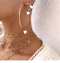 2019 New Fashion 3Pcs/Set Women Love Heart Earring Hoop Big Round Pendant Gold Fashion Jewelry Earrings For Woman