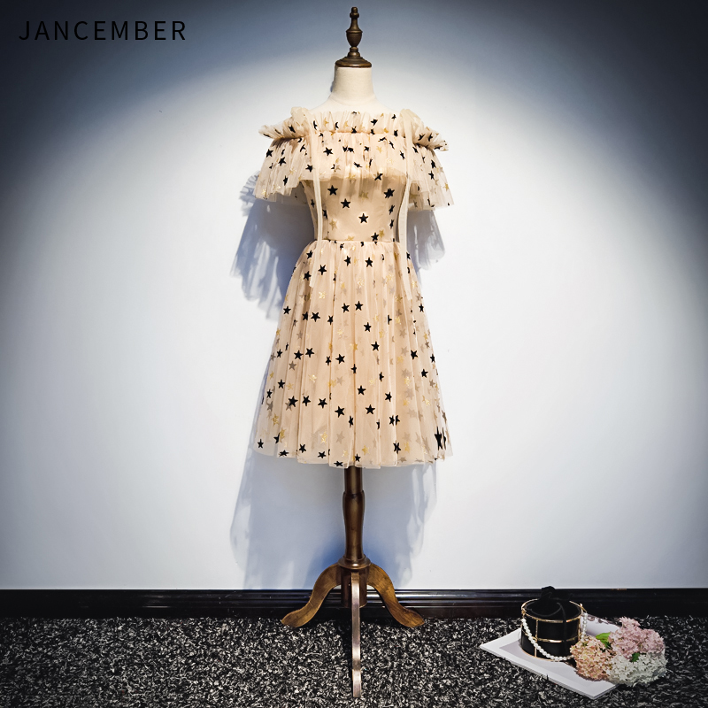 JANCEMBER 2019 Latest Light Luxury   Cocktail     Dresses   Cap Sleeve Boat Neck Zipper Back Star Pattern Applique   cocktail     dress   short