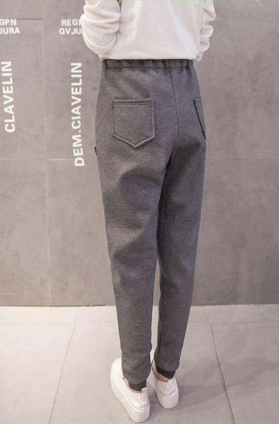 MOBTRS Super Thick Pants Women Simple Harem Warm Pants Women's Solid Color Pants For Women Loose Winter Causal Female Trousers - 6