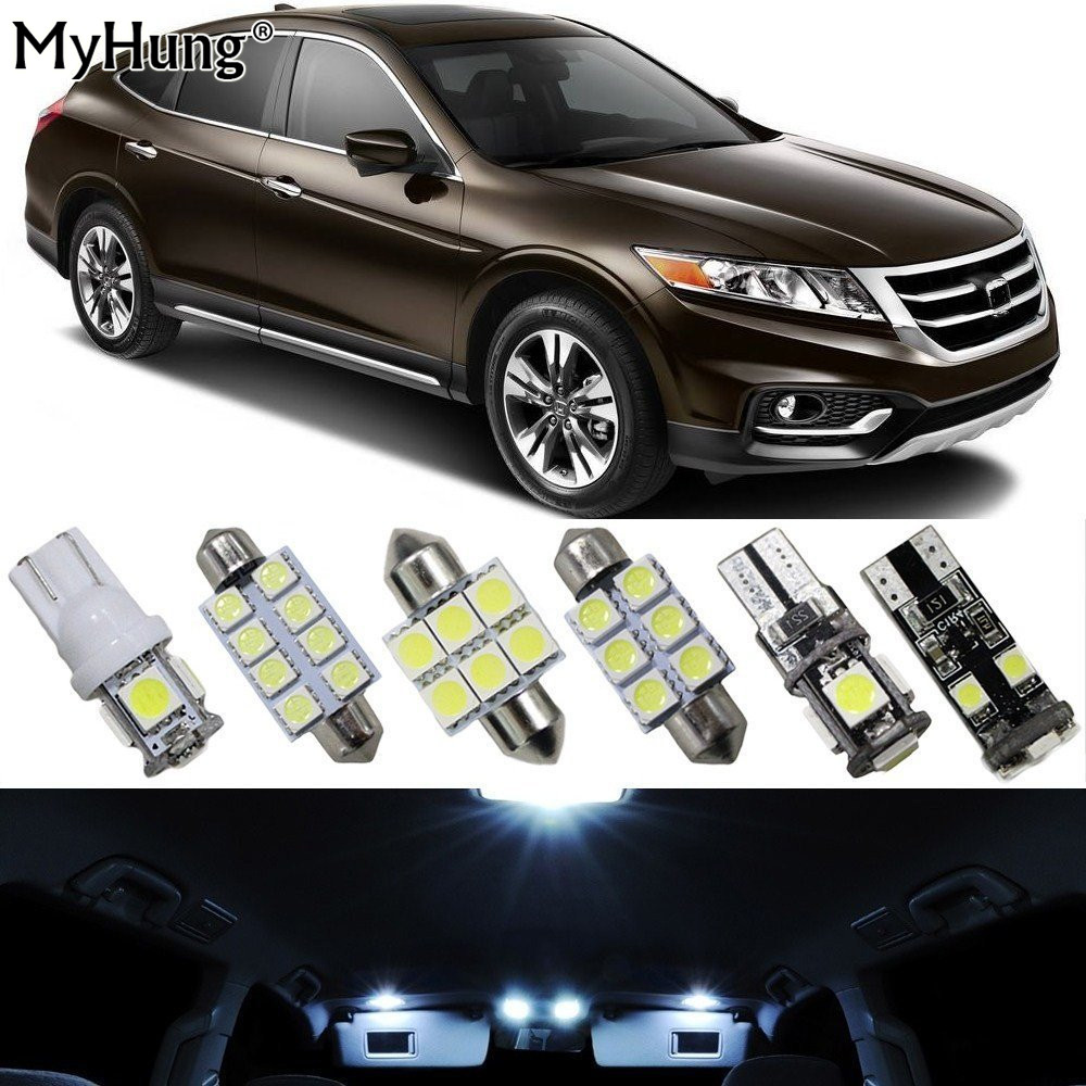 Led Interior Lights For Cars For HONDA CROSSTOUR Car Replacement Light Bulb Dome Map Lamp Bright White 12PCS Car-Styling