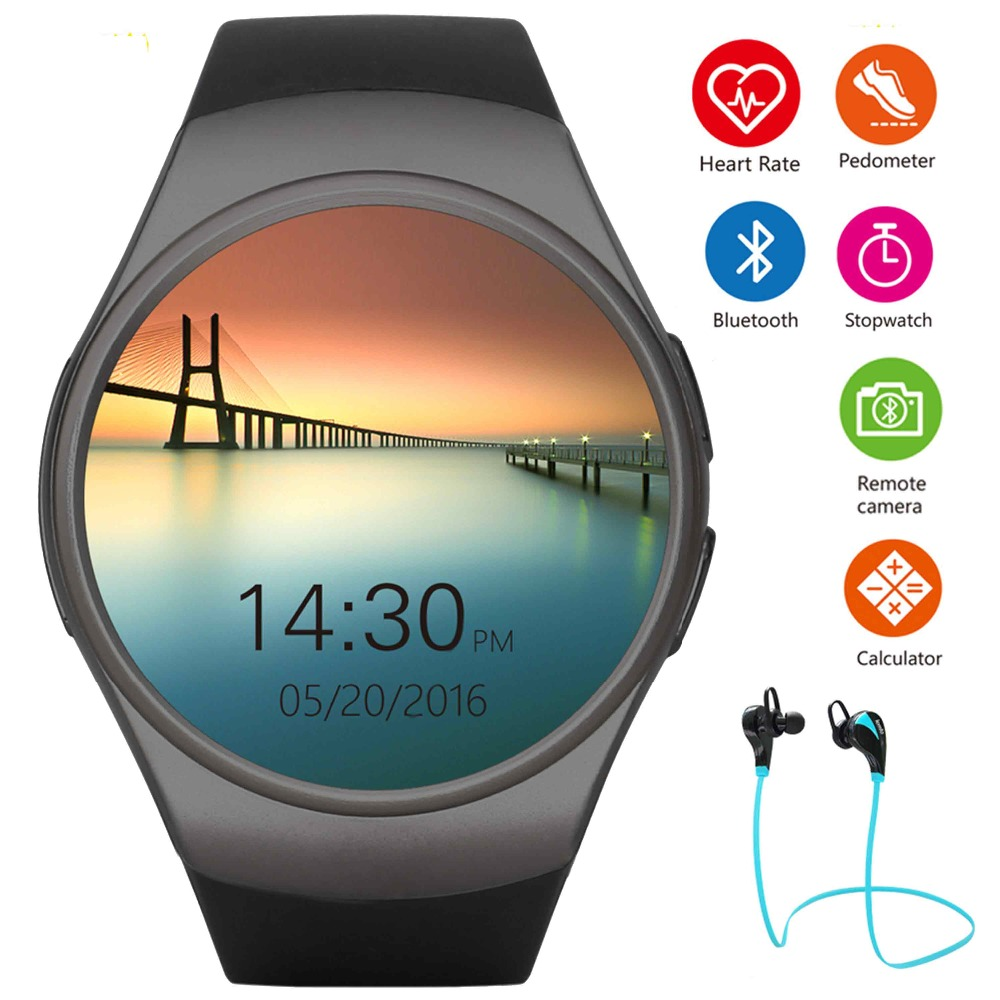 Kw18 Bluetooth Smart Watch Men Women Heart Rate Monitor Pedometer Running Watch Full Screen Support Sim
