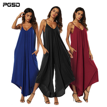 PGSD New female spring summer Fashion street sexy V collar Suspender Backless Simple pure color wide-leg Women Jumpsuits XXXL