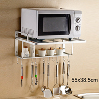 2 Tier Space Aluminum Microwave Oven Bracket Wall Mounted Kitchen Rack Light Grate kitchen Shelf Microwave Oven Rack Storage