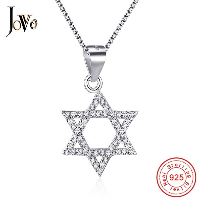 JOVO Popular Classic women necklace Six corners star Pendants sterling s925 silver Fine Jewelry lady trendy gift