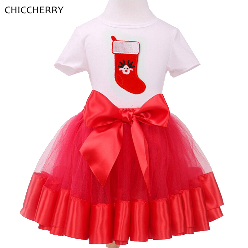Red Christmas Children Clothes Toddler Girls Lace Ball Gown Skirt  & Top Set New Year Costume Roupa Infantil Menina Kids Outfits