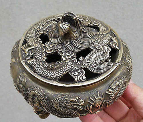 Chinese Favorites Bronze statue dragon Collectibles incense burner /Censer
