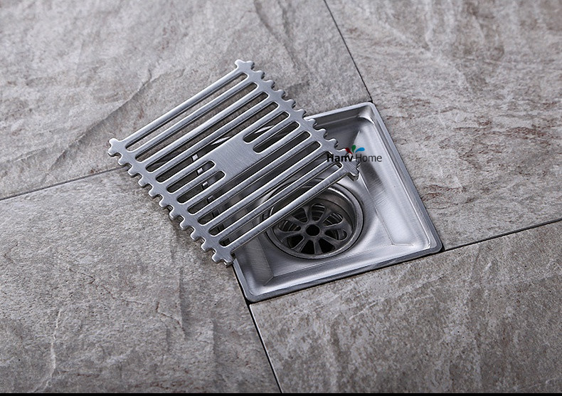 304 stainless steel square anti-odor floor drain bathroom hardware invisible shower floor drain  anti odor bathtub shower drainer floor strainer 10x10cm 304 stainless steel square invisible bathroom floor drain waste grate