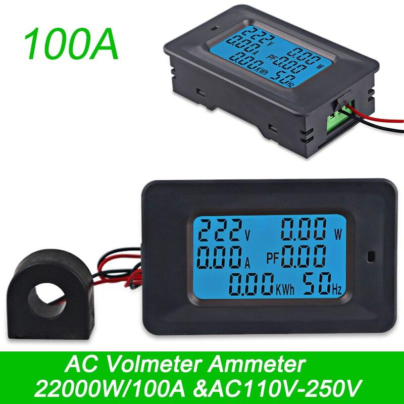AC22KW 110~250V 100A Digital Voltage Power Energy Voltmeter Ammeter Meters Indicator Current Amps Volt Wattmeter Tester Detector