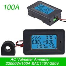 Ac22kw 110 250 v 100a digital tensão energia voltímetro amperímetro medidores indicador atual ampères volt wattmeter tester detector