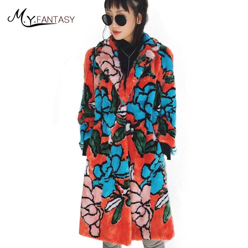 M. Y. FANSTY 2017 D'hiver de Femmes Imprimer Fleur Vison Manteau Turn-Down Col Manteau De Fourrure Véritable Patchwork De Fourrure Coloré Longue Mince Manteaux De Vison