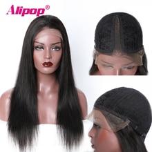 T часть предварительно сорвал кружева передние человеческие волосы парики для женщин Remy бразильский прямой парик с волосами младенца Alipop