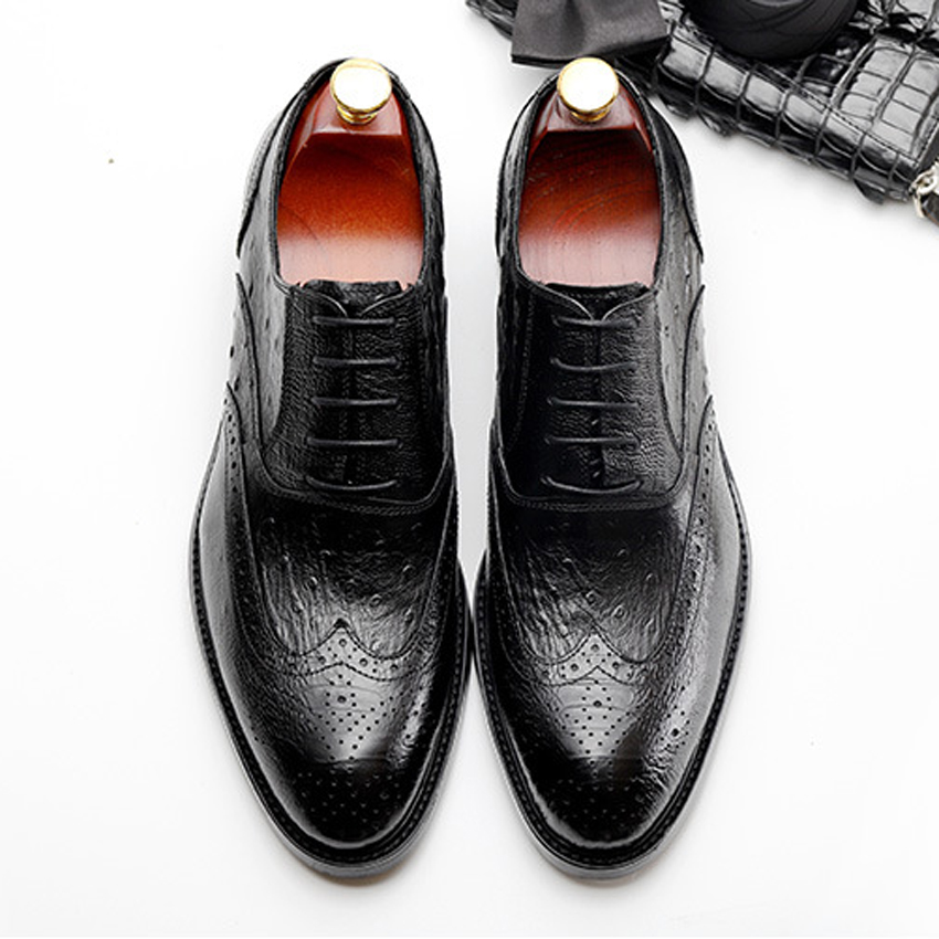Luxury Formal Dress Genuine Leather Mens Ostrich Pattern Footwear Round Toe Derby Handmade Carved Brogue Shoes For Man HMS37