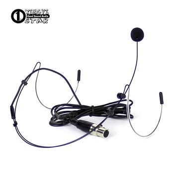 Mini XLR 3 Pin TA3F, auriculares de diadema con cable, micrófono condensador profesional para SAMSON UHF, transmisor de sistema inalámbrico