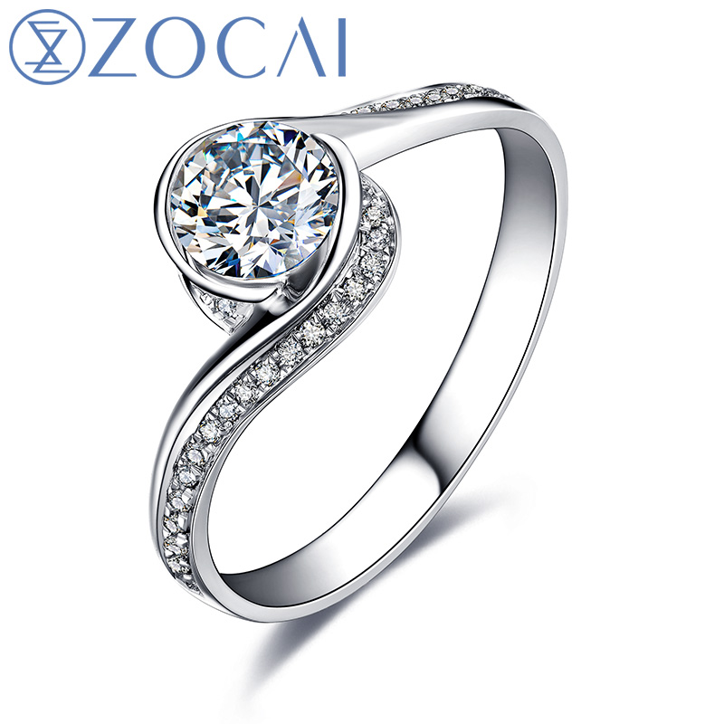 ZOCAI GLAMOROUS 0.52 CT CERTIFIED F-G / VS / VG ROUT CUT 18K WHITE GOLD DIAMOND ENGAGEMENT RING W00546