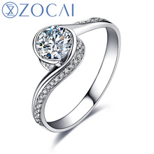 ZOCAI GLAMOROUS 0.60 CT CERTIFIED I-J / SI / VG  ROUND CUT 18K WHITE GOLD DIAMOND ENGAGEMENT RING W00546