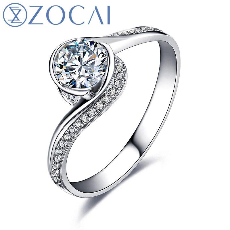 ZOCAI glamour 0.52 CT certifié F-G/VS/VG taille ronde 18 K or blanc diamant bague de fiançailles W00546