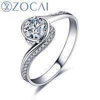 Zocai glamorous 0.60 ct مصدق ij/si/vg round cut 18 كيلو الذهب الأبيض الماس خاتم الخطوبة W00546