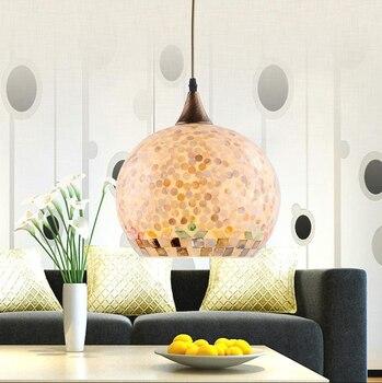เมดิเตอร์เรเนียน Sea warm charming shell จี้ไฟ Handmade E27 LED โคมไฟเดียวสำหรับ parlor & บันได & porch & cafe YD001
