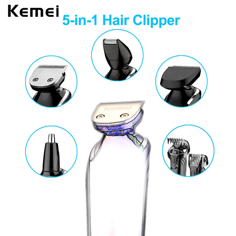Kemei 5 in 1 Waterproof Rechargeable Men's Hair Clipper Razor Nose Trimmer Electric Shaver Shaving Machine for Men Barbeador A45 kemei new km 580a 7 in 1 electric shaver razor men shaving machine rechargeable nose ear hair trimmer clipper afeitadora eu plug
