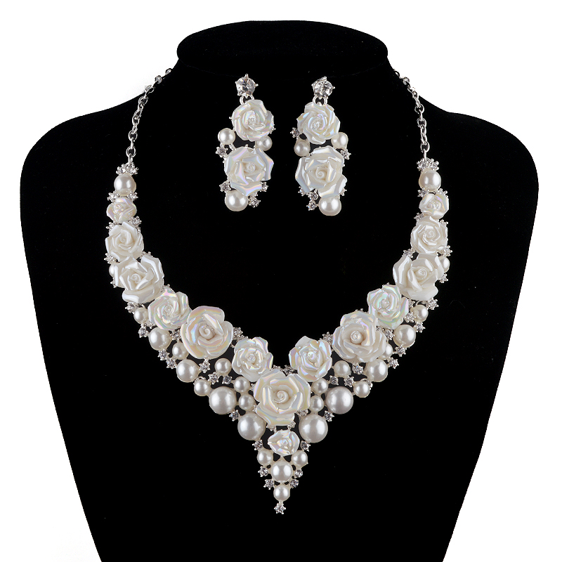 bridal Wedding pearl Jewelry Sets fashion porcelain flower bright AB color Rhinestone necklace earrings set silver crystal luxury rhinestone bridal necklace earrings set crystal ab color aurora color evening party jewelry set drop water flower style