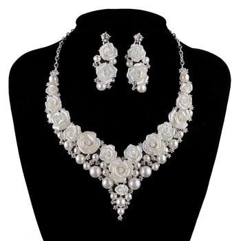 bridal Wedding Jewelry Sets fashion porcelain flower bright AB  Rhinestone necklace earrings set  silver crystal Free shipping