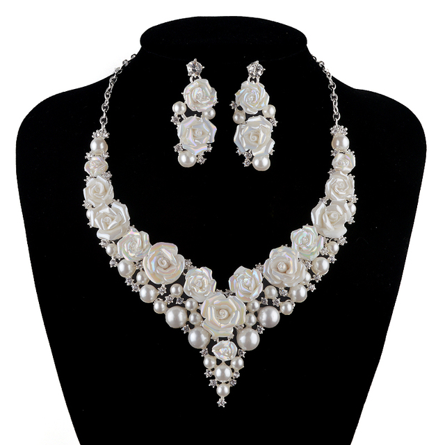 Bridal Wedding Pearl Jewelry Sets Fashion Porcelain Flower Bright Ab Color Rhinestone Necklace Earrings Set Silver