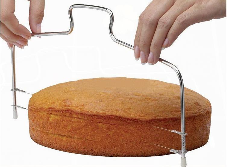Par dhl ou ems 100 pièces acier inoxydable réglable fil gâteau trancheuse niveleur tranches gâteau Cutter outil lin4665
