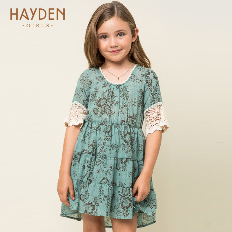 HAYDEN teenagers girls dress summer flower costumes 10 11 12 years off shoulder children party frocks 7Y clothing girls clothes scarlett sc ek18p05 white violet электрический чайник