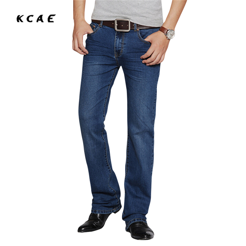 2016 New Arrival High Quality Business Flare trousers Men's slim mid waist elastic boot cut Jeans Plus Size Pants 28-38