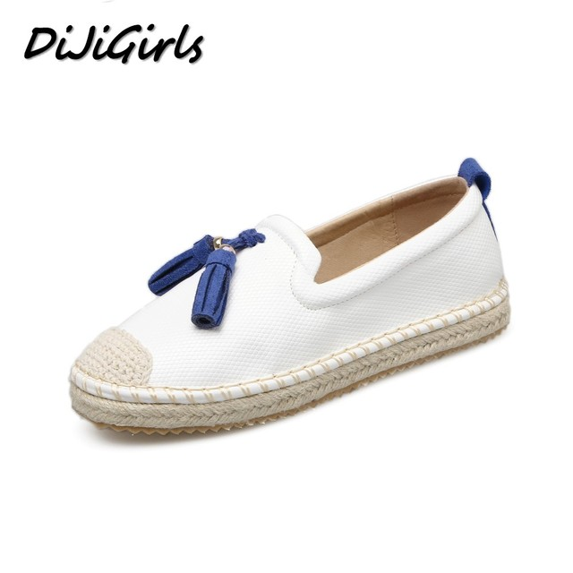 DiJiGirls star women casual flat shoes woman fashion fringe round toe loafers girls slip on lazy boat straw hemp rope shoes