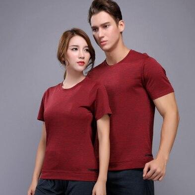 Running Shirts Men Women Short Sleeve Sports Gym Fitness Reflective Print Training T Shirt Jogging Sweat Bodybuilding Shirt