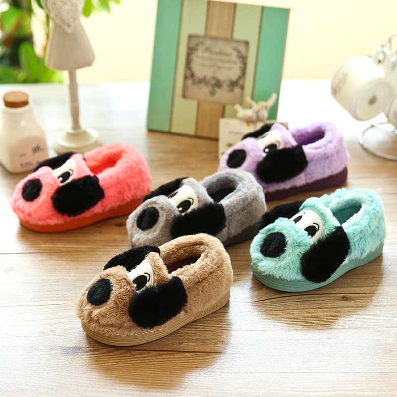 חורף פעוט בני בנות נעלי בית חמוד Cartoon כלב בית לילדים נוח חם חורף כותנה נעלי בית נעלי בית