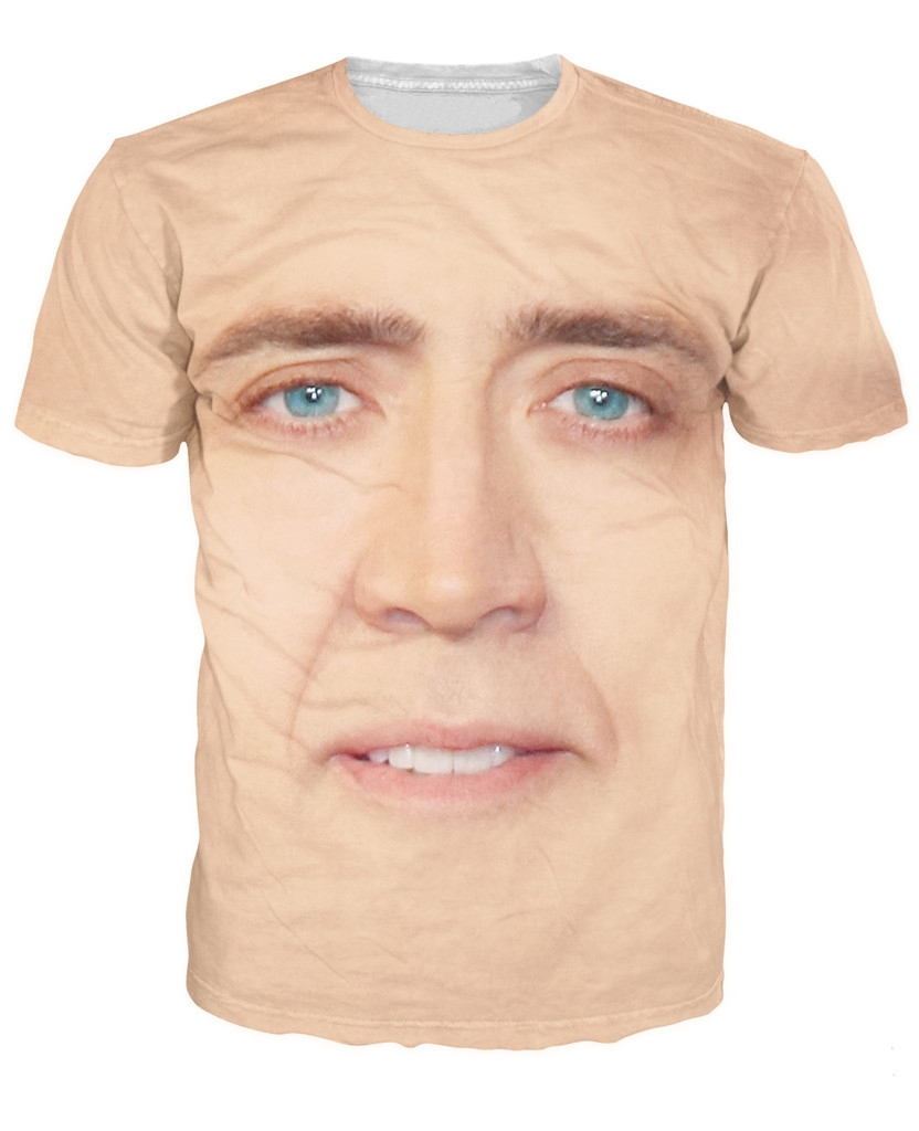 15928f743 the giant blown up face of Nicolas Cage T-Shirt National Treasure 3d print t  shirt Women Men Summer Style tees tops