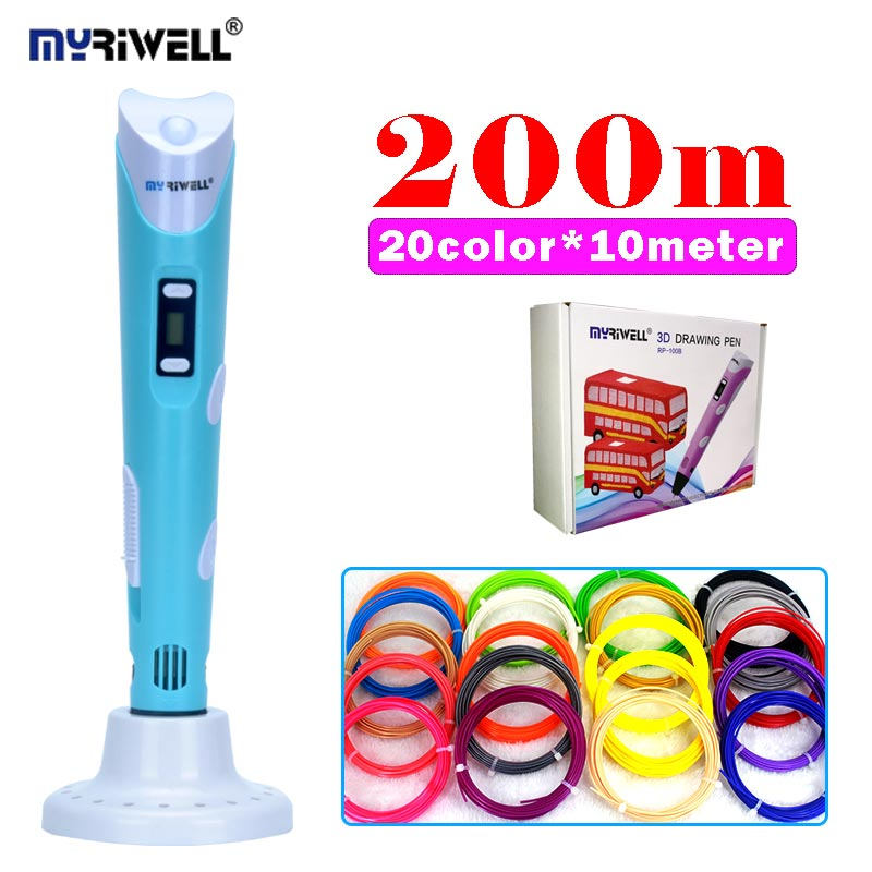 original myriwell 3D PEN RP-100B add 200meter abs filament creative diy drawing pen with lcd display 3D printing pen with base