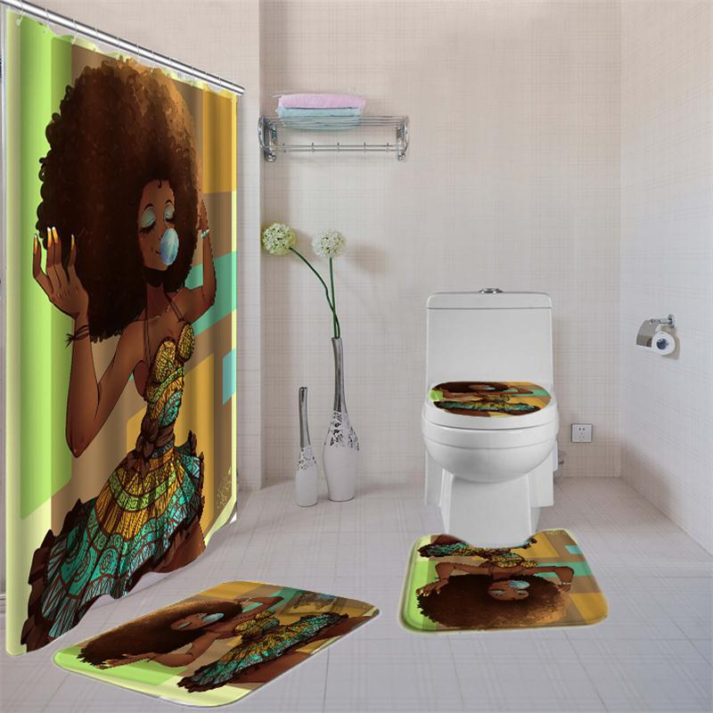 Women Printed Bathroom Curtain Set Made Of Non PEVA Material With Toilet Seat Cover 3