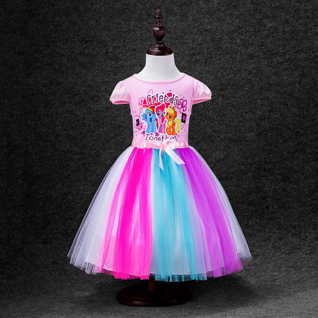 KEAIYOUHUO New Spring girl cotton rainbow gauze leisure children clothes short-sleeved summer pony princess dress for kids