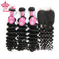 Queen Hair Brazilian Virgin Hair with Lace Closure Human Hair weave with closure Brazilian More Wave with Lace Closure DHL Free