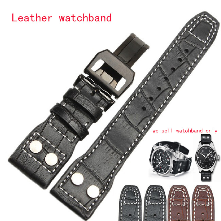 Black Brown Genuine leather watchbands men Watch Band Strap 22mm(buckle 18mm) Watchband bracelet stainless steel butterfly clasp