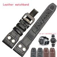 Noir Brun Véritable bandes de montre en cuir hommes Montre de Courroie De Bande 22mm (boucle 18mm) Bracelet bracelet en acier inoxydable papillon fermoir