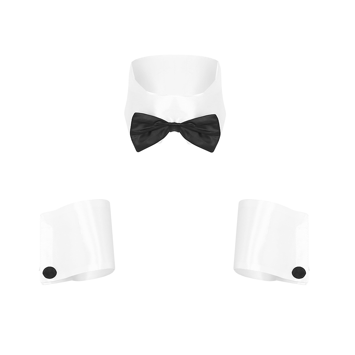 ChicTry Gay <font><b>Mens</b></font> <font><b>Sexy</b></font> Costume Accessories Collar and Cuff Set Male Dancer <font><b>Sexy</b></font> Stripper <font><b>Cosplay</b></font> Costume Waiter Lingerie Costumes image